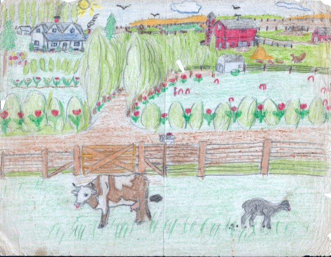 Farm Scene 2-pencil-crayon